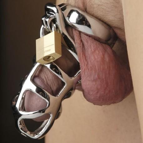 Cage de chasteté en inox incurvée et ajourée + cadenas pour anneau testicules