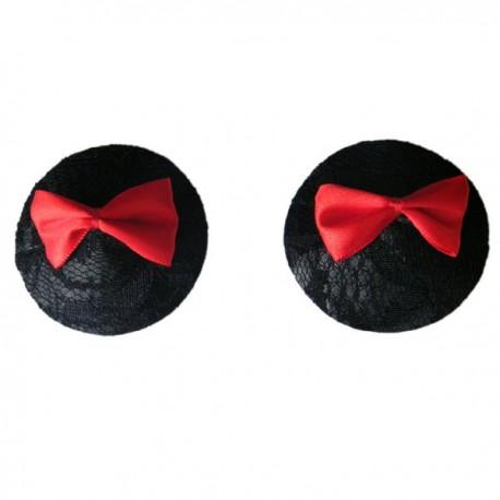 Cache-Téton - Nippies - Dentelle noire et flots rouges