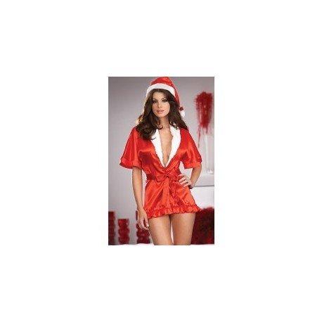 Kimono en satin rouge & bonnet de mère noël