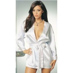 Kimono Sexy - Peignoir en satin Blanc, Rose ou Noir