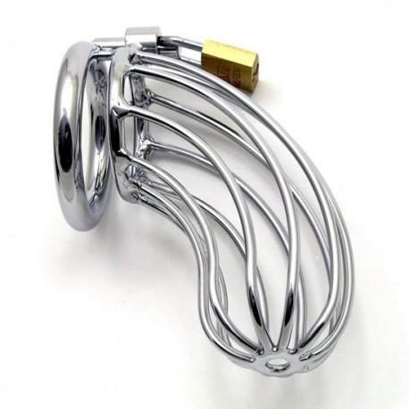 Cage de chasteté en tubulaire inox + cadenas pour anneau testicules