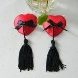 Cache-Téton - Nippies - Coeur rouge avec pompon