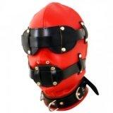 Cagoule en cuir BDSM Fétish Rouge & noir - Totale soumission