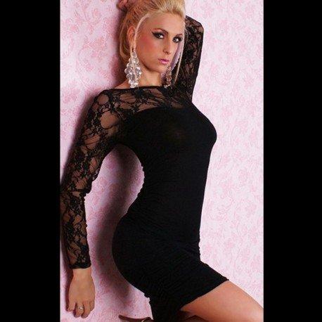 Robe sexy noire moulante avec dentelles