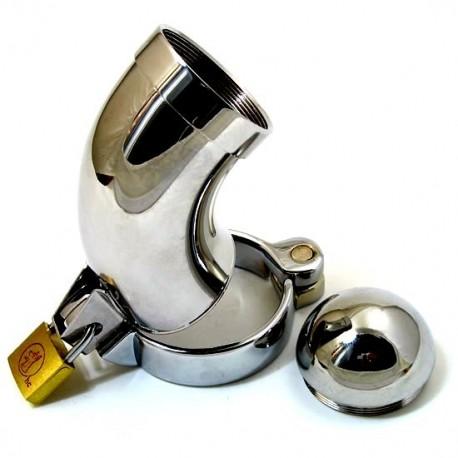 Cage de chasteté chromée incurvé + cadenas pour anneau testicules / type : CB3000