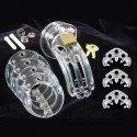 The Curve : Cage de chasteté plastique transparent, plusieurs anneaux et cadenas