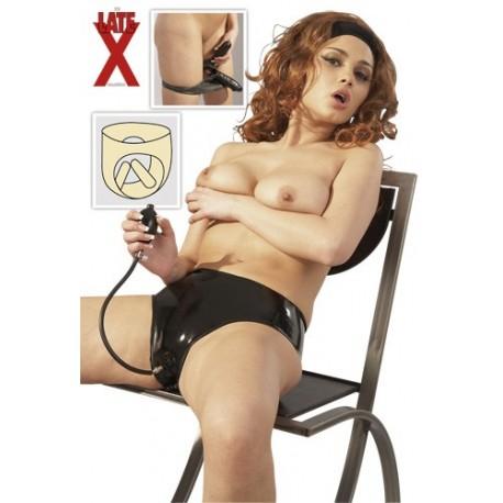 ** Clearance ** Culotte en latex - Double godes anal et vaginal gonflable pour femme