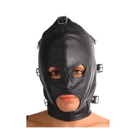 Cagoule SM cuir totale - Muselière et masque détachables
