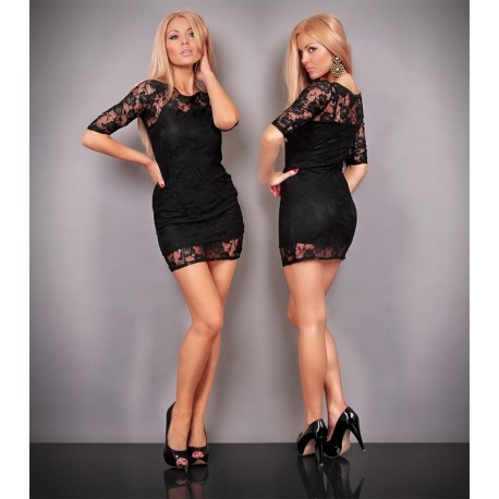 Robe glamour noire moulante avec dentelles