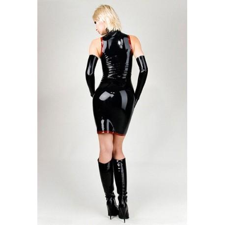Robe & Gants noirs vinyle décolleté & moulante sexy