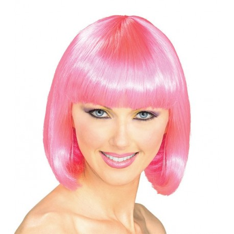 Perruque : coupe au carré rose