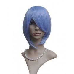Perruque sexy : Coupe mi-longue bleue à frange