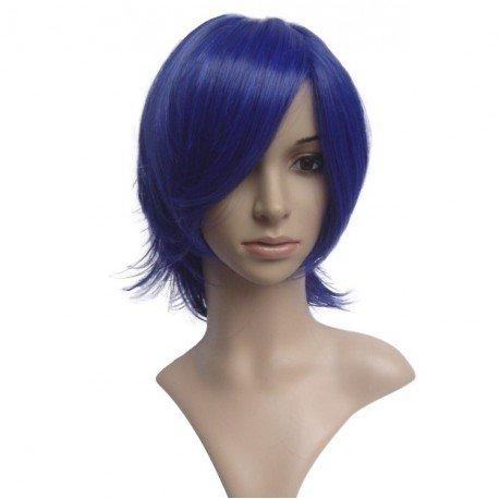 Perruque sexy : Coupe mi-longue bleue foncé frange
