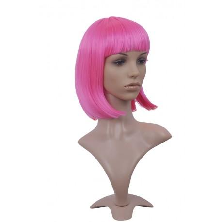 [Discontinued] Perruque sexy : Coupe mi-longue rose à frange