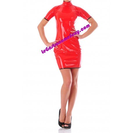 Robe moulante rouge 100% Latex 0,45mm