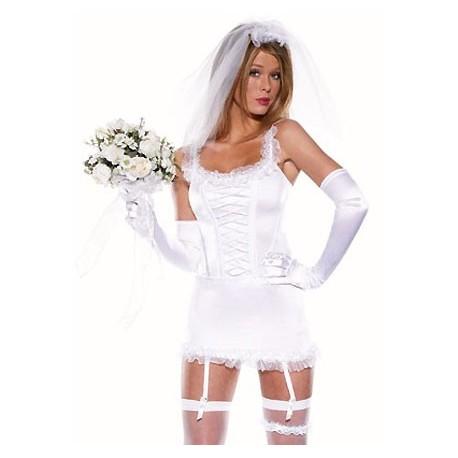 Nuisette blanche de mariée sexy