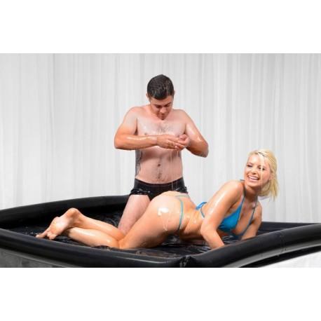 Nuru - Draps en latex vinyl & bordures gonflables idéal pour jeux de massage - wet games