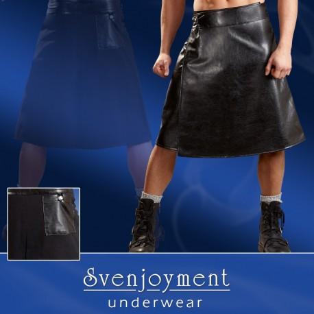 *** CLEARANCE *** Jupe style kilt pour homme en simili cuir noir