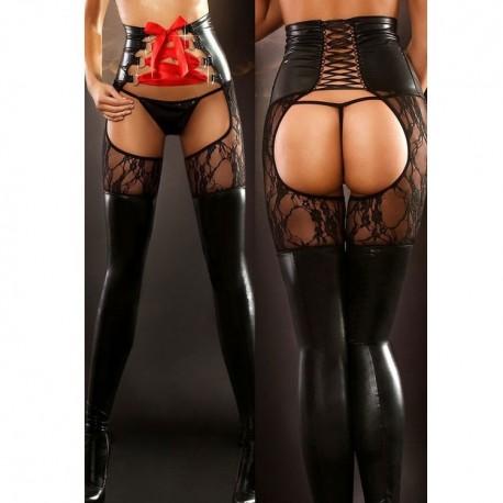 *** discontinued *** Legging wetlook - bas avec corset sexy