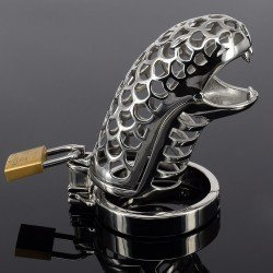 Snake Head - Cage de chasteté en métal - tête de serpent