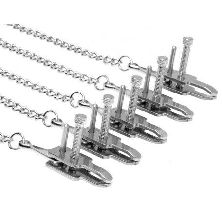 Kit de bondage BDSM : 5 chaines et pinces : seins, clitoris, tétons...
