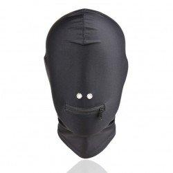 Cagoule Bondage - totalement opaque en spandex noir
