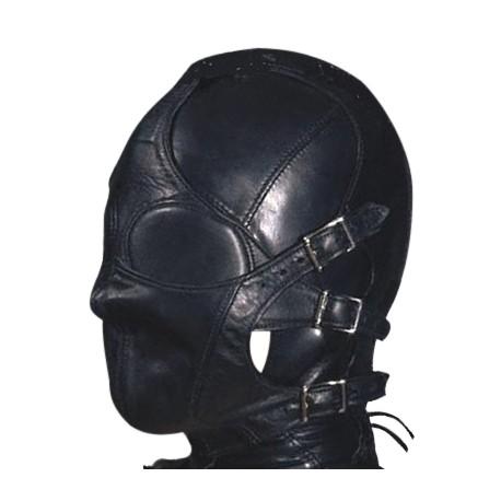 Cagoule SM en cuir avec muselière détachable - soumission totale