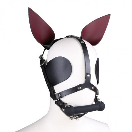 Bâillon de cheval en cuir avec oreilles œillères et barre d'obstruction buccale