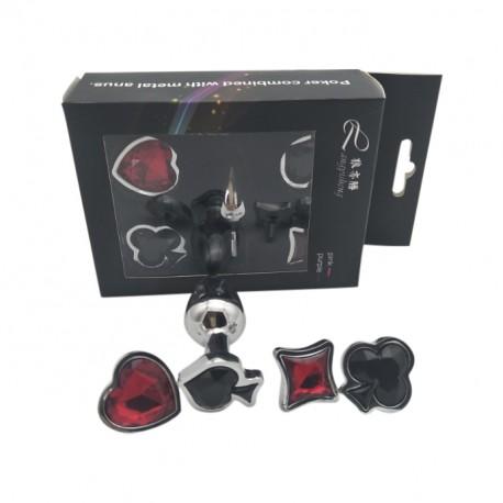 Plug anal Poker en acier inoxydable avec tête interchangeables pique, cœur, carreau ou trèfle