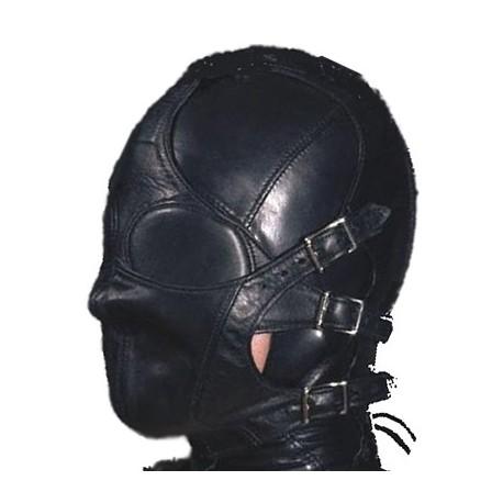 Cagoule SM totalement fermée en cuir de bondage BDSM modulable