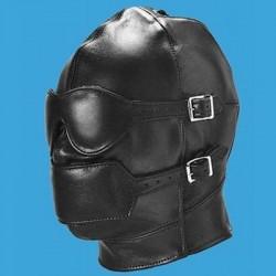 Cagoule intégrale style cuir : Masque et muselière détachable