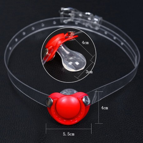 Gag ball tétine en forme de coeur rouge