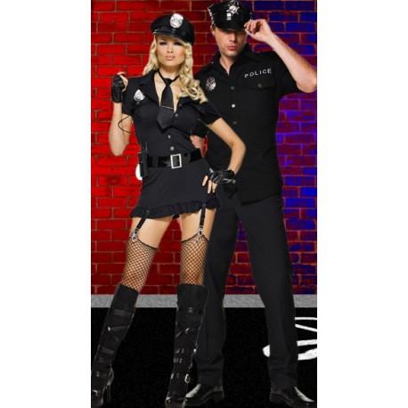 Robe courte noiree Policière Sexy
