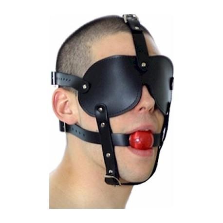 22.9€ - Gag Ball - Bâillon de bondage avec masque SM intégré.