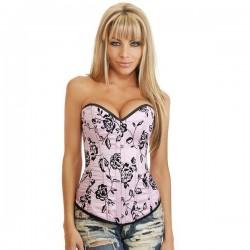 Corset : Sexy Rose & Noir motif floral