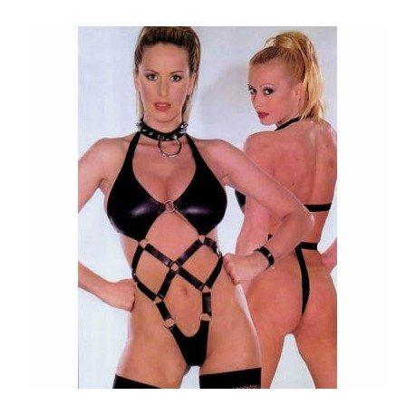 Body harnais bondage : queen latex spécial