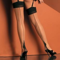 Bas coutures transparent pour porte jarretelles