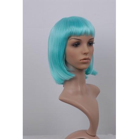 Perruque sexy : Coupe mi-longue turquoise à frange