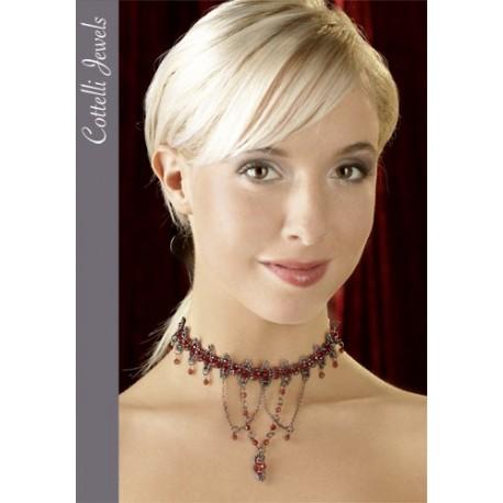 Collier de perles rouges et grises glamour
