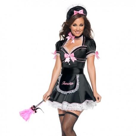 Costume Femme de chambre Sexy Noir et Rose