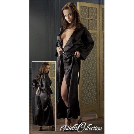 Kimono en satin noir et ceinture