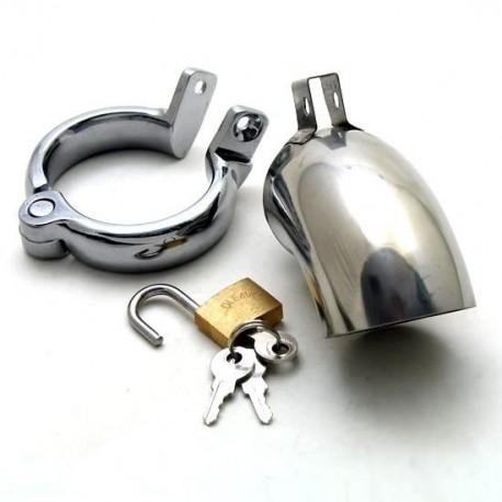 Cage de chasteté en inox incurvé + cadenas pour testicules